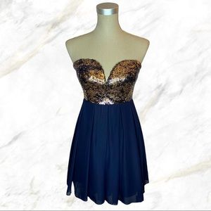 Windsor | Gold Sparkle & Sequins Navy Mini Dress
